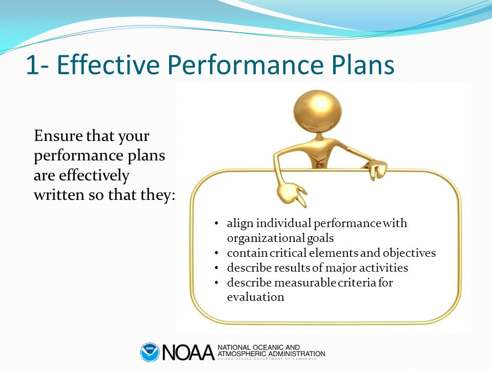 1- Effective Performance Plans Ensure that your performance plans are effectively written so that they: align individual performance with organization