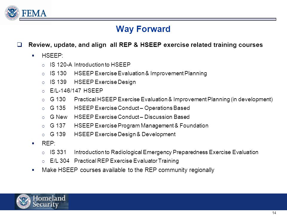 14 Way Forward  Review, update, and align all REP & HSEEP exercise related training courses  HSEEP:  IS 120-A Introduction to HSEEP  IS 130HSEEP Exercise Evaluation & Improvement Planning  IS 139HSEEP Exercise Design  E/L-146/147 HSEEP  G 130 Practical HSEEP Exercise Evaluation & Improvement Planning (in development)  G 135HSEEP Exercise Conduct – Operations Based  G NewHSEEP Exercise Conduct – Discussion Based  G 137HSEEP Exercise Program Management & Foundation  G 139HSEEP Exercise Design & Development  REP:  IS 331Introduction to Radiological Emergency Preparedness Exercise Evaluation  E/L 304Practical REP Exercise Evaluator Training  Make HSEEP courses available to the REP community regionally