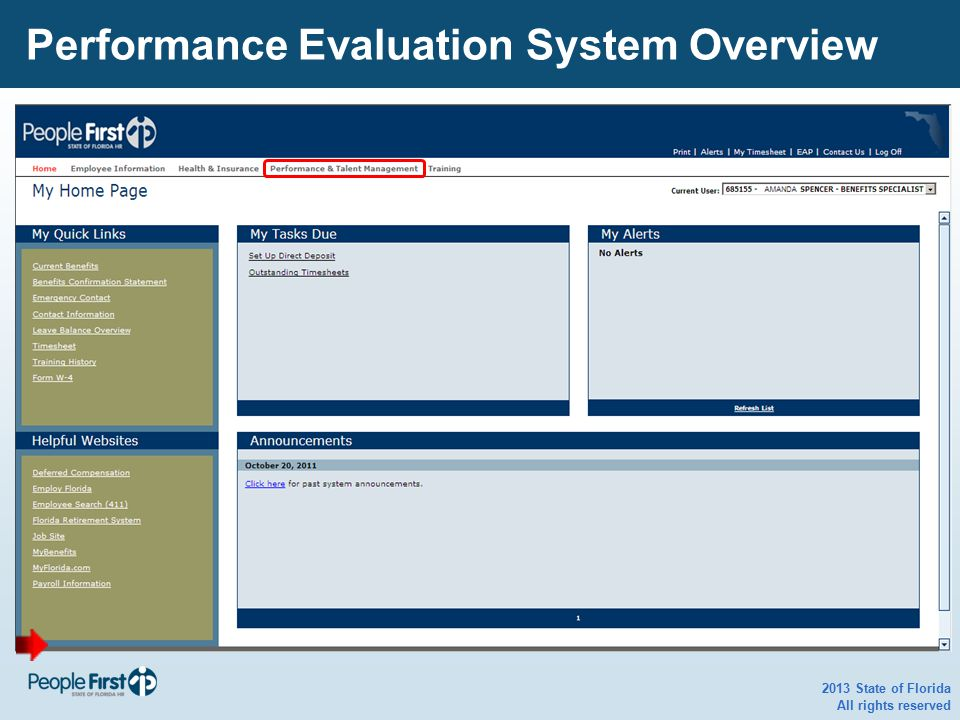 2013 State of Florida All rights reserved Performance Evaluation System Overview
