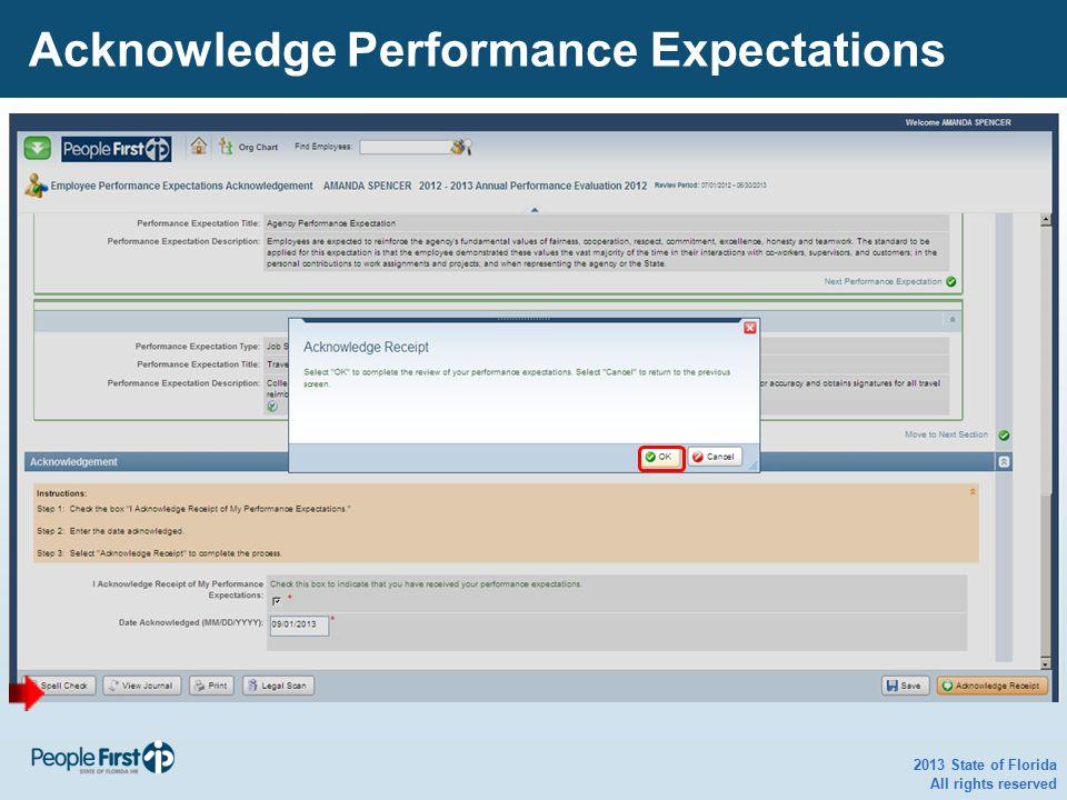 2013 State of Florida All rights reserved Acknowledge Performance Expectations