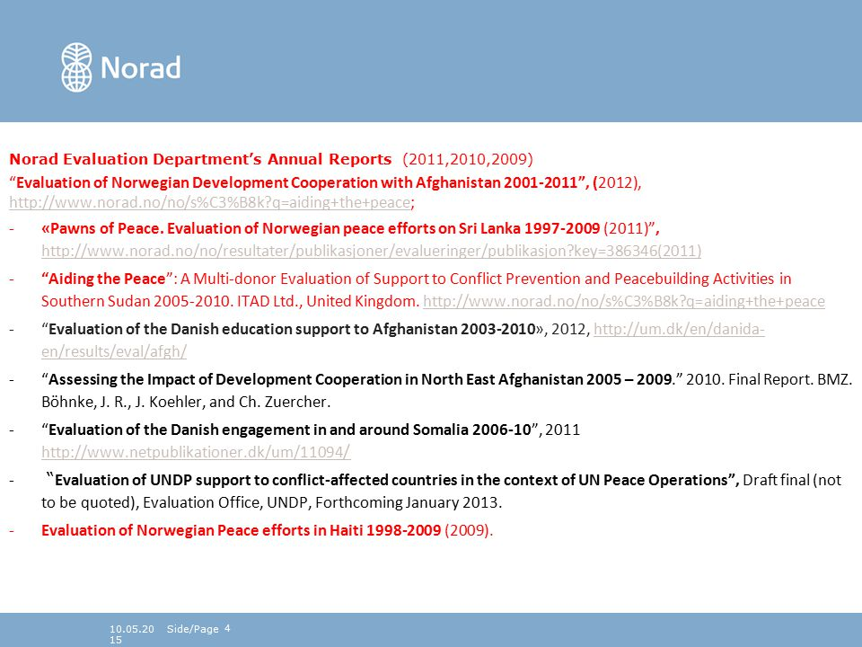 410.05.2015 Norad Evaluation Department's Annual Reports (2011,2010,2009) Evaluation of Norwegian Development Cooperation with Afghanistan 2001-2011 , (2012), http://www.norad.no/no/s%C3%B8k?q=aiding+the+peace; http://www.norad.no/no/s%C3%B8k?q=aiding+the+peace -«Pawns of Peace.