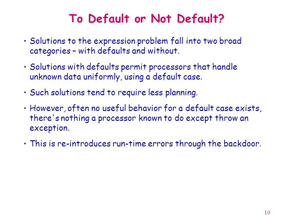 10 To Default or Not Default.