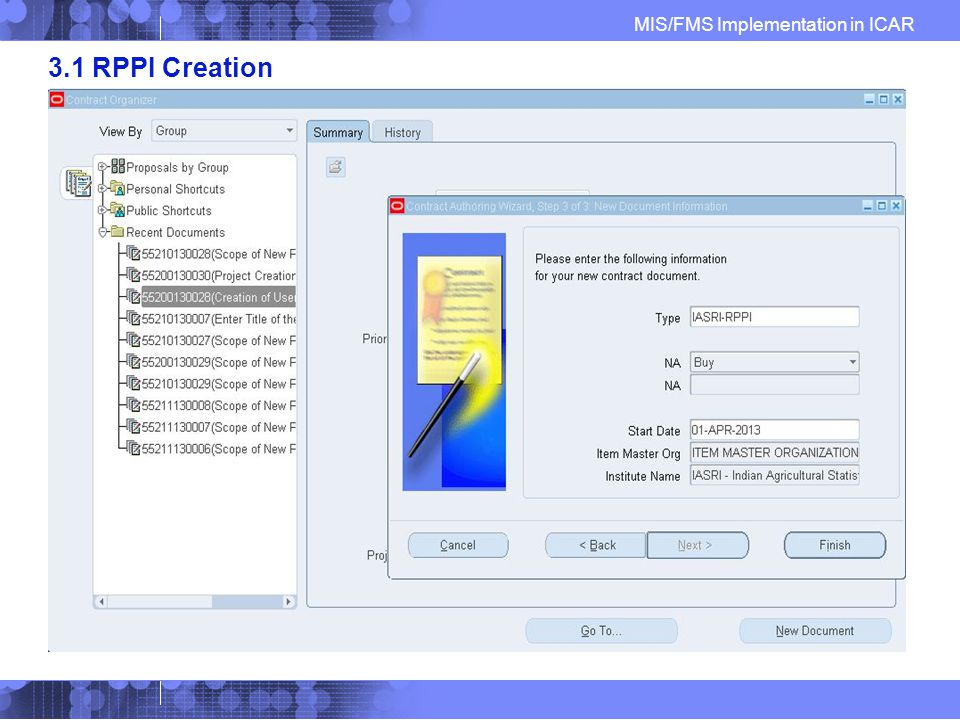 MIS/FMS Implementation in ICAR 3.1 RPPI Creation