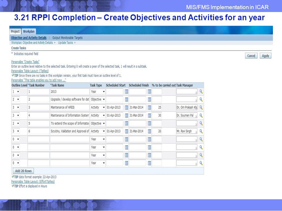 MIS/FMS Implementation in ICAR 3.21 RPPI Completion – Create Objectives and Activities for an year