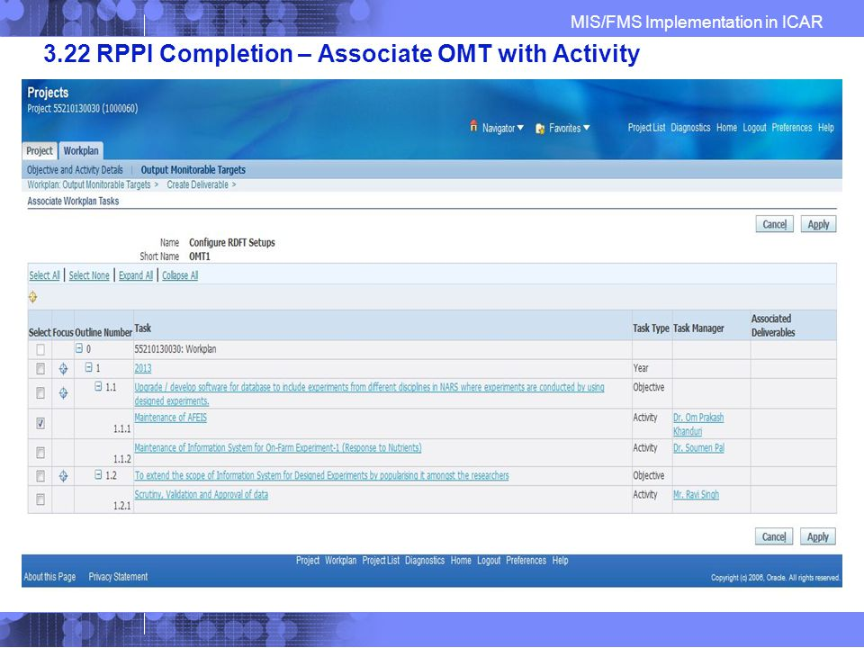 MIS/FMS Implementation in ICAR 3.22 RPPI Completion – Associate OMT with Activity
