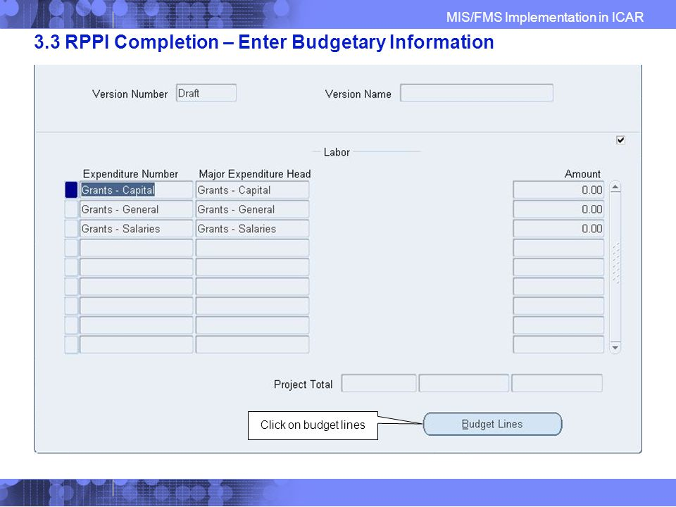 MIS/FMS Implementation in ICAR 3.3 RPPI Completion – Enter Budgetary Information Click on budget lines