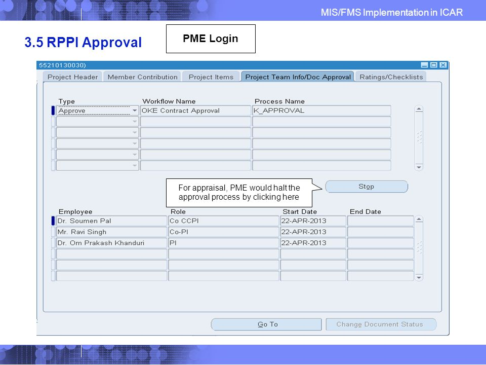 MIS/FMS Implementation in ICAR 3.5 RPPI Approval For appraisal, PME would halt the approval process by clicking here PME Login