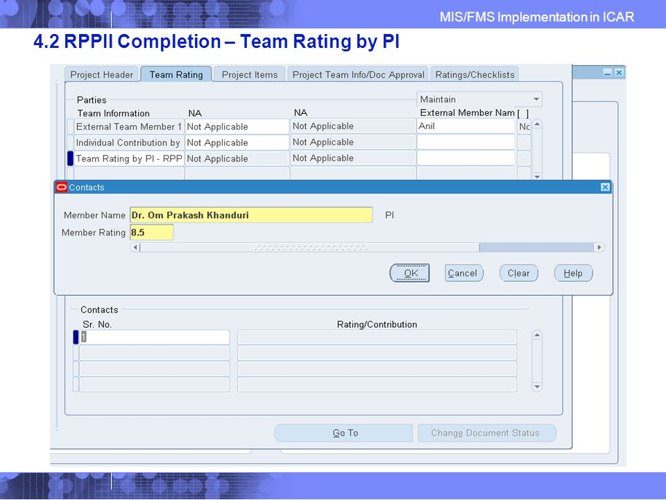 MIS/FMS Implementation in ICAR 4.2 RPPII Completion – Team Rating by PI