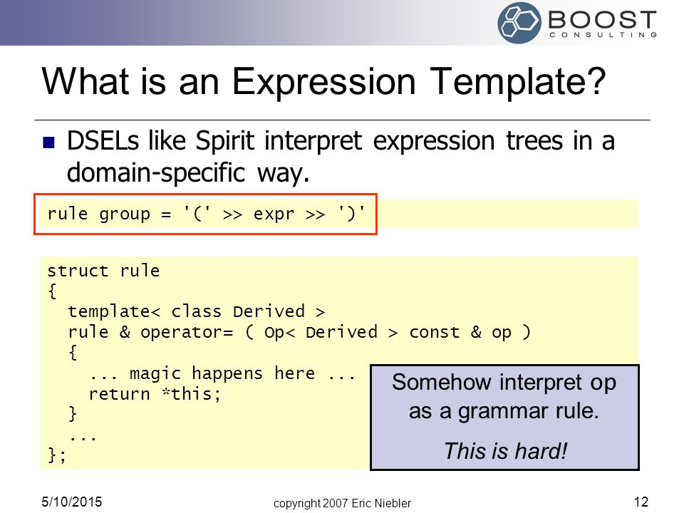copyright 2007 Eric Niebler 5/10/2015 12 rule group = ( >> expr >> ) What is an Expression Template.
