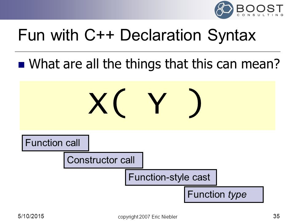 copyright 2007 Eric Niebler 5/10/2015 35 Fun with C++ Declaration Syntax What are all the things that this can mean.
