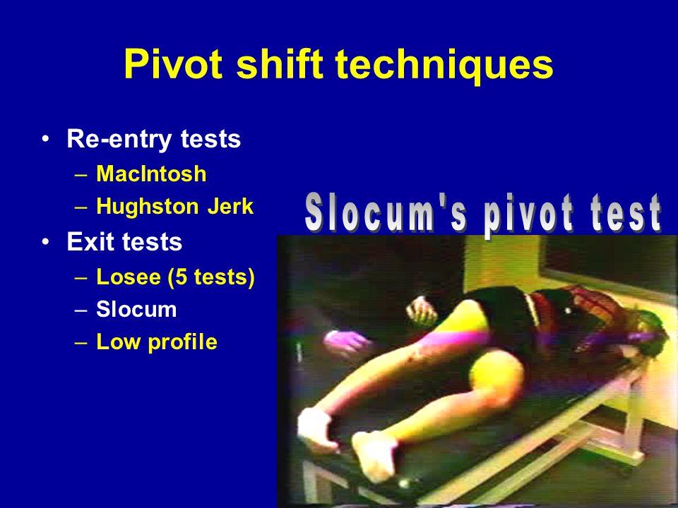 Pivot shift techniques Re-entry tests –MacIntosh –Hughston Jerk Exit tests –Losee (5 tests) –Slocum –Low profile