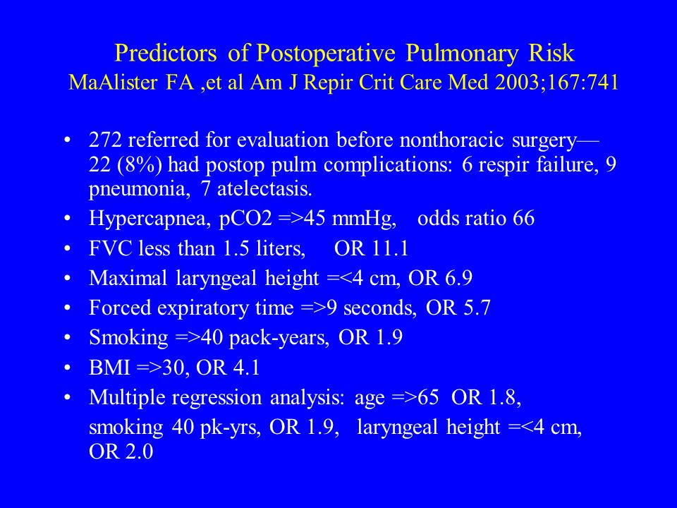 Predictors of Postoperative Pulmonary Risk MaAlister FA,et al Am J Repir Crit Care Med 2003;167:741 272 referred for evaluation before nonthoracic sur
