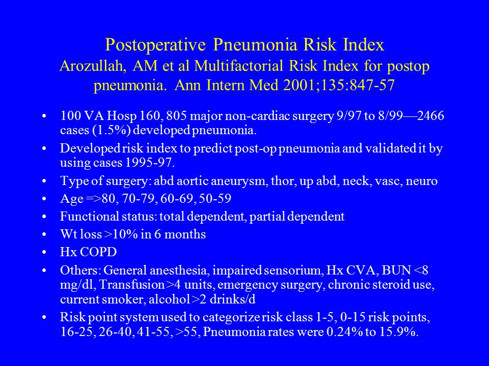 Postoperative Pneumonia Risk Index Arozullah, AM et al Multifactorial Risk Index for postop pneumonia. Ann Intern Med 2001;135:847-57 100 VA Hosp 160,
