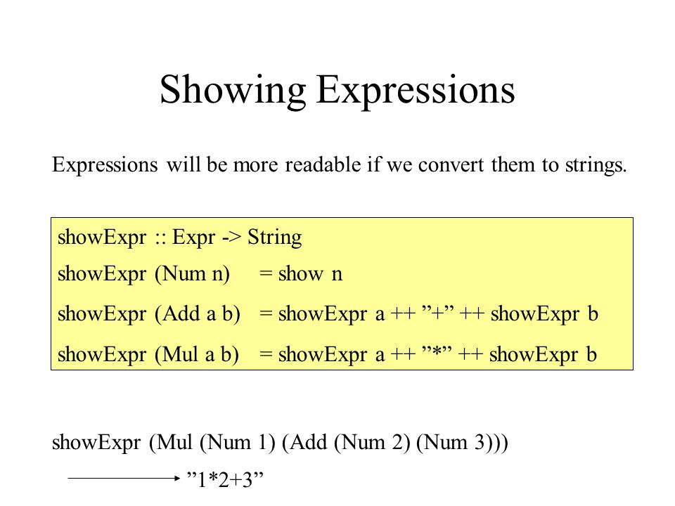 Showing Expressions Expressions will be more readable if we convert them to strings.