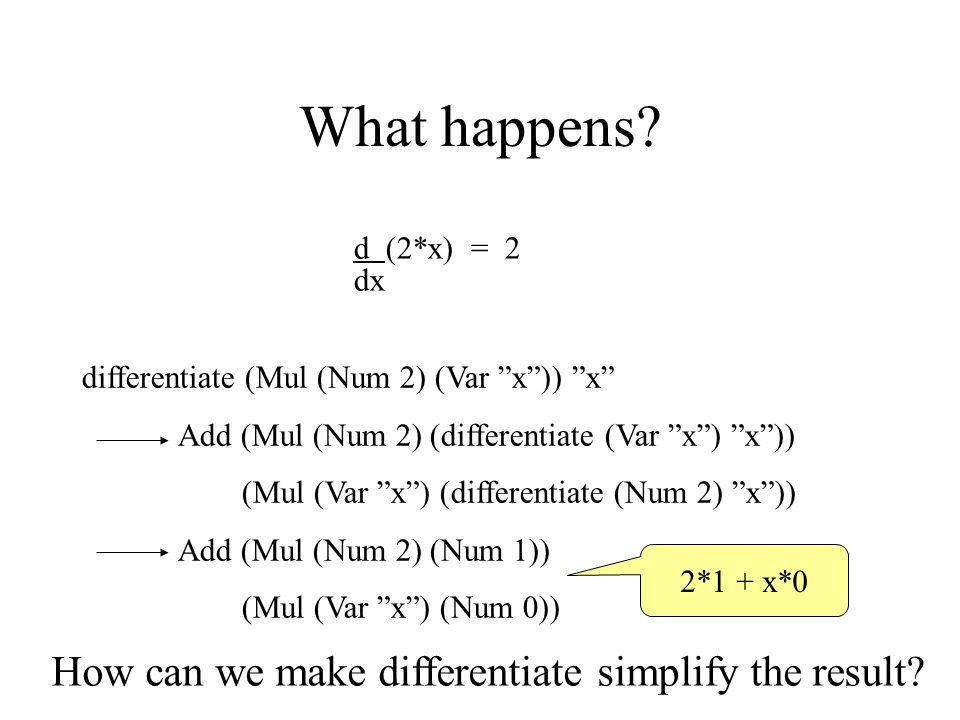 """What happens? d (2*x) = 2 dx differentiate (Mul (Num 2) (Var """"x"""")) """"x"""" Add (Mul (Num 2) (differentiate (Var """"x"""") """"x"""")) (Mul (Var """"x"""") (differentiate ("""