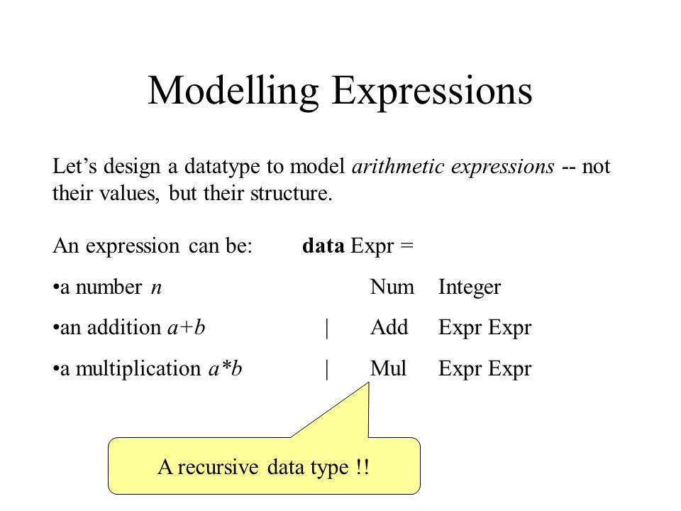 Modelling Expressions Let's design a datatype to model arithmetic expressions -- not their values, but their structure.