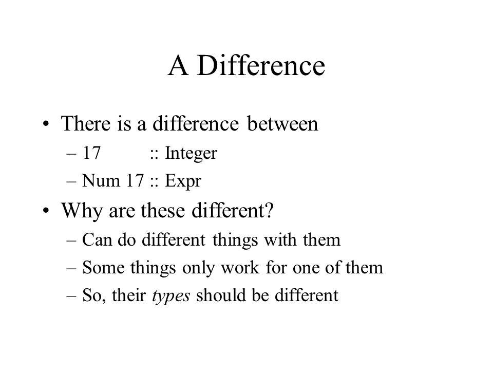A Difference There is a difference between –17 :: Integer –Num 17 :: Expr Why are these different.