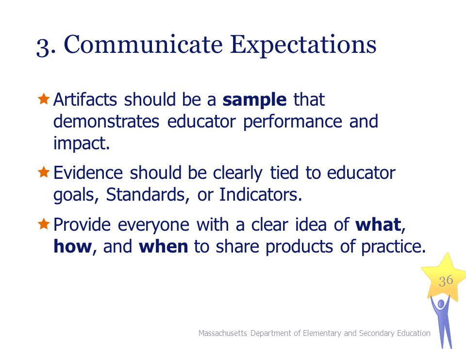 3. Communicate Expectations  Artifacts should be a sample that demonstrates educator performance and impact.  Evidence should be clearly tied to edu