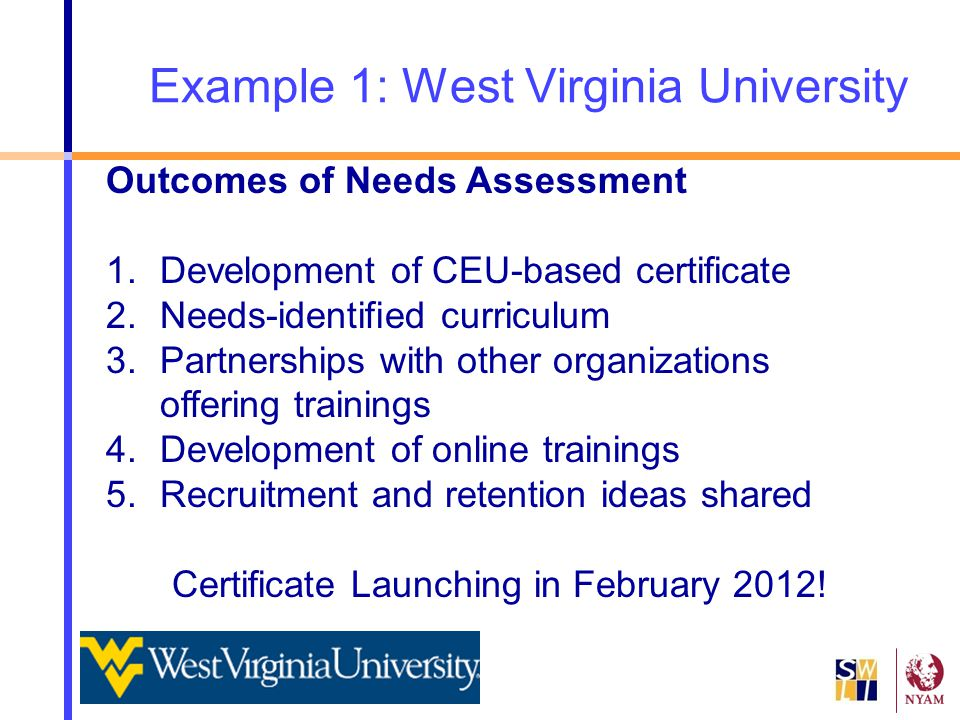 Example 1: West Virginia University Outcomes of Needs Assessment 1.Development of CEU-based certificate 2.Needs-identified curriculum 3.Partnerships w