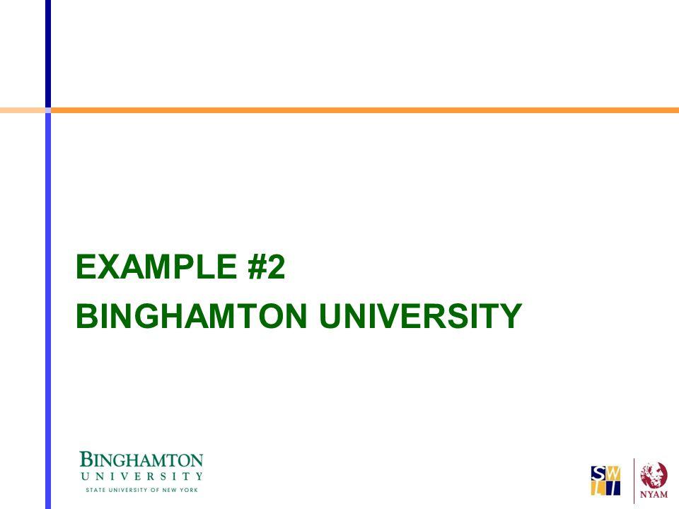 EXAMPLE #2 BINGHAMTON UNIVERSITY