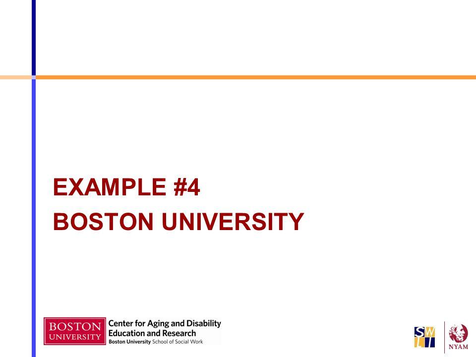 EXAMPLE #4 BOSTON UNIVERSITY