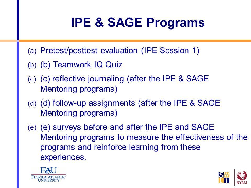 IPE & SAGE Programs (a) Pretest/posttest evaluation (IPE Session 1) (b) (b) Teamwork IQ Quiz (c) (c) reflective journaling (after the IPE & SAGE Mento