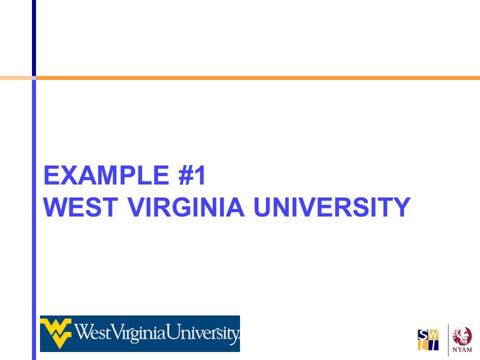 EXAMPLE #1 WEST VIRGINIA UNIVERSITY