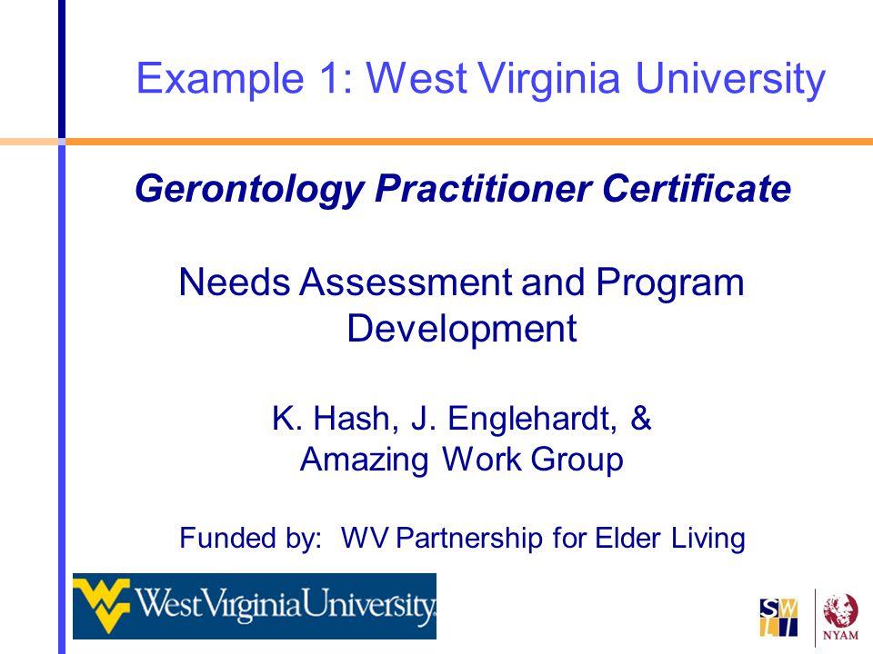 Example 1: West Virginia University Gerontology Practitioner Certificate Needs Assessment and Program Development K. Hash, J. Englehardt, & Amazing Wo