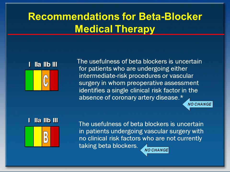 Recommendations for Beta-Blocker Medical Therapy The usefulness of beta blockers is uncertain for patients who are undergoing either intermediate-risk procedures or vascular surgery in whom preoperative assessment identifies a single clinical risk factor in the absence of coronary artery disease.* The usefulness of beta blockers is uncertain in patients undergoing vascular surgery with no clinical risk factors who are not currently taking beta blockers.