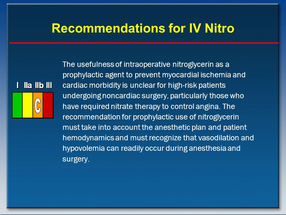 Recommendations for IV Nitro The usefulness of intraoperative nitroglycerin as a prophylactic agent to prevent myocardial ischemia and cardiac morbidity is unclear for high-risk patients undergoing noncardiac surgery, particularly those who have required nitrate therapy to control angina.