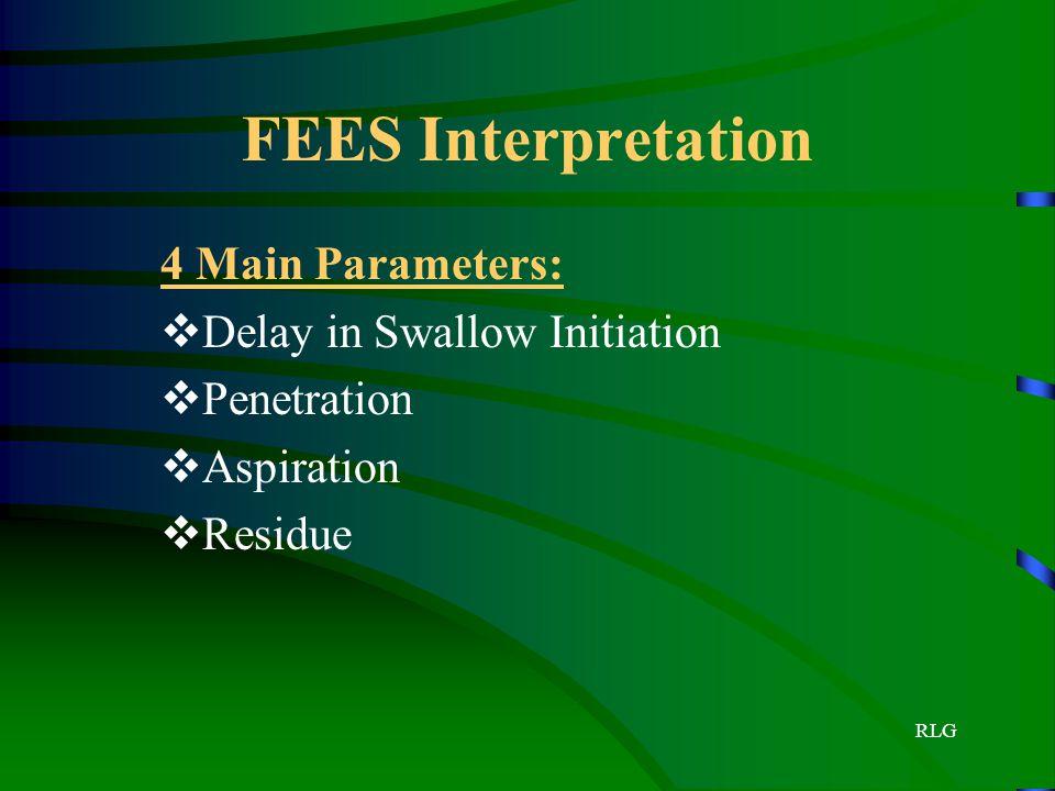RLG FEES Interpretation 4 Main Parameters:  Delay in Swallow Initiation  Penetration  Aspiration  Residue