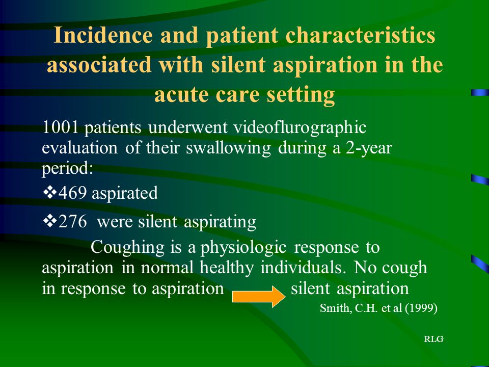 RLG Incidence and patient characteristics associated with silent aspiration in the acute care setting 1001 patients underwent videoflurographic evalua