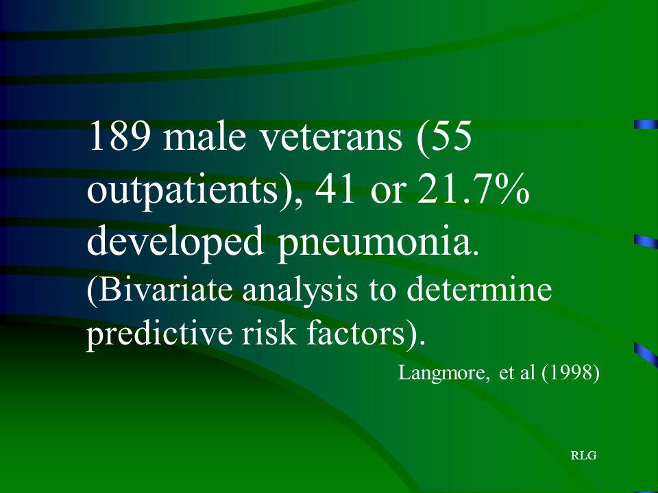 RLG 189 male veterans (55 outpatients), 41 or 21.7% developed pneumonia. (Bivariate analysis to determine predictive risk factors). Langmore, et al (1
