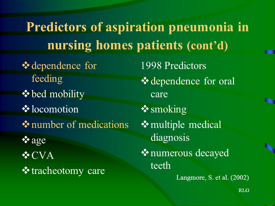 RLG Predictors of aspiration pneumonia in nursing homes patients (cont'd)  dependence for feeding  bed mobility  locomotion  number of medications
