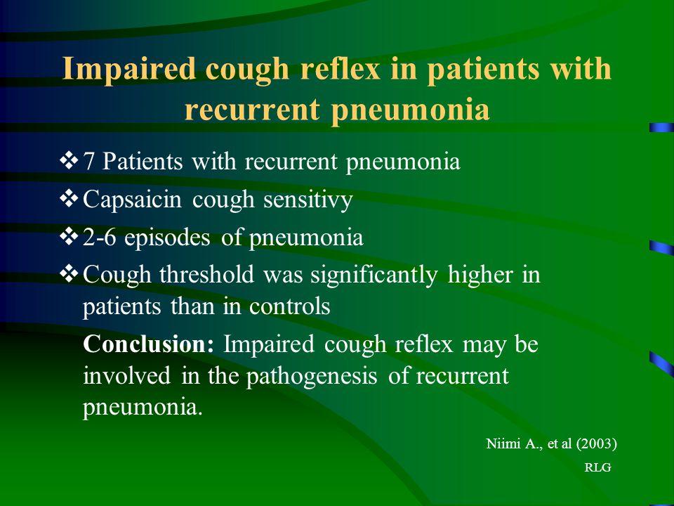 RLG Impaired cough reflex in patients with recurrent pneumonia  7 Patients with recurrent pneumonia  Capsaicin cough sensitivy  2-6 episodes of pne