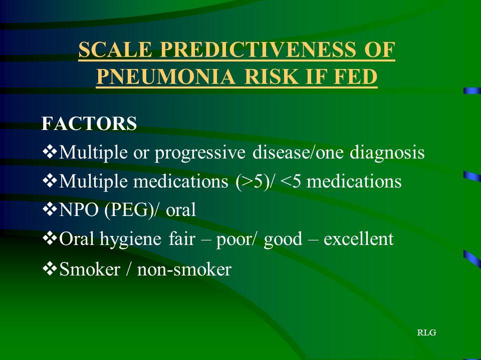 RLG SCALE PREDICTIVENESS OF PNEUMONIA RISK IF FED FACTORS  Multiple or progressive disease/one diagnosis  Multiple medications (>5)/ <5 medications
