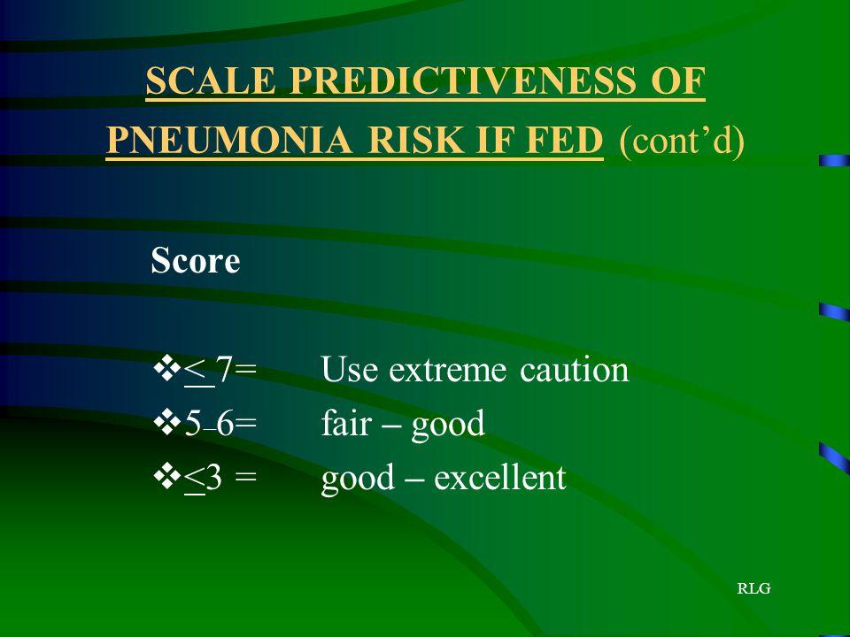 RLG SCALE PREDICTIVENESS OF PNEUMONIA RISK IF FED (cont'd) Score  < 7=Use extreme caution  5 – 6=fair – good  <3=good – excellent