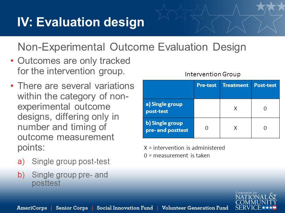 Pre-testTreatmentPost-test a) Single group post-test X0 b) Single group pre- and posttest 0X0 IV: Evaluation design Non-Experimental Outcome Evaluatio