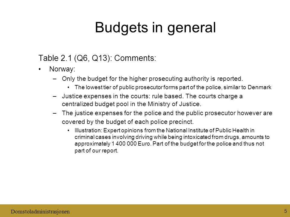 Domstoladministrasjonen 5 Budgets in general Table 2.1 (Q6, Q13): Comments: Norway: –Only the budget for the higher prosecuting authority is reported.
