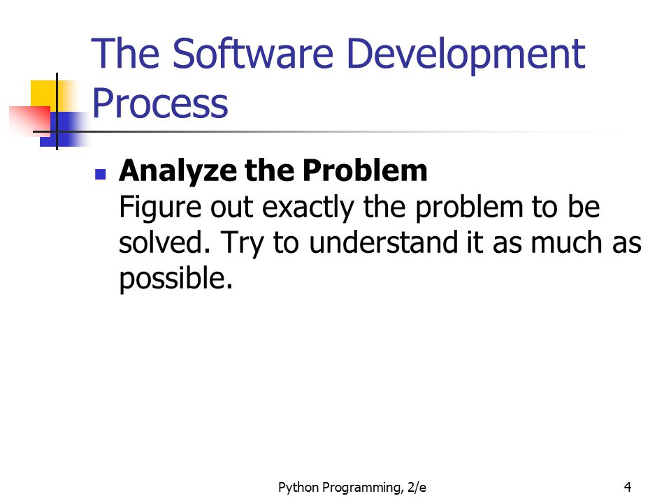 Python Programming, 2/e5 The Software Development Process Determine Specifications Describe exactly what your program will do.