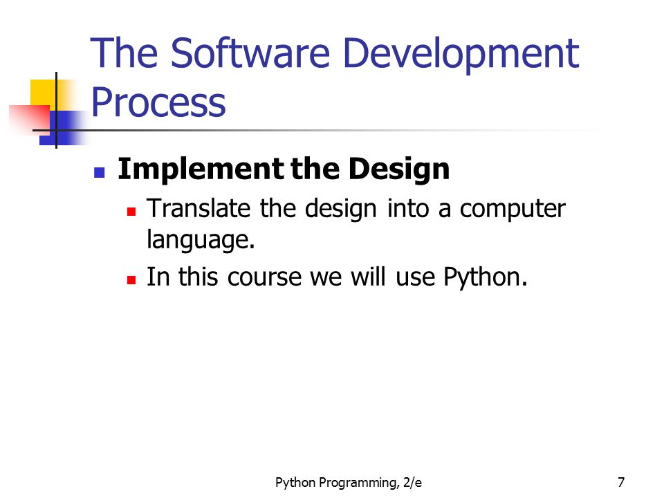 Python Programming, 2/e8 The Software Development Process Test/Debug the Program Try out your program to see if it worked.