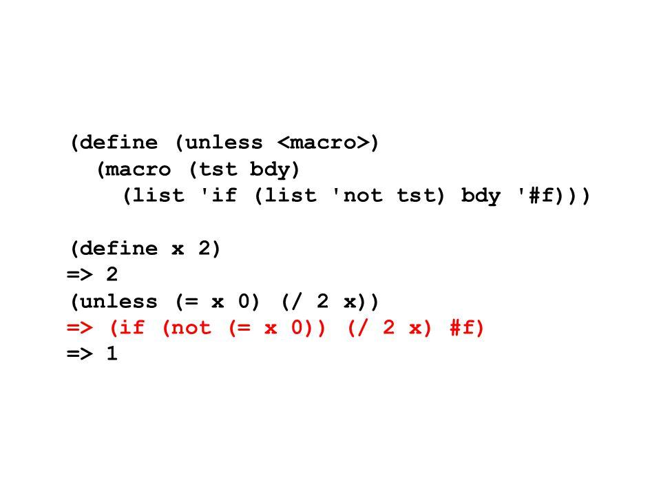(define (unless ) (macro (tst bdy) (list 'if (list 'not tst) bdy '#f))) (define x 2) => 2 (unless (= x 0) (/ 2 x)) => (if (not (= x 0)) (/ 2 x) #f) =>