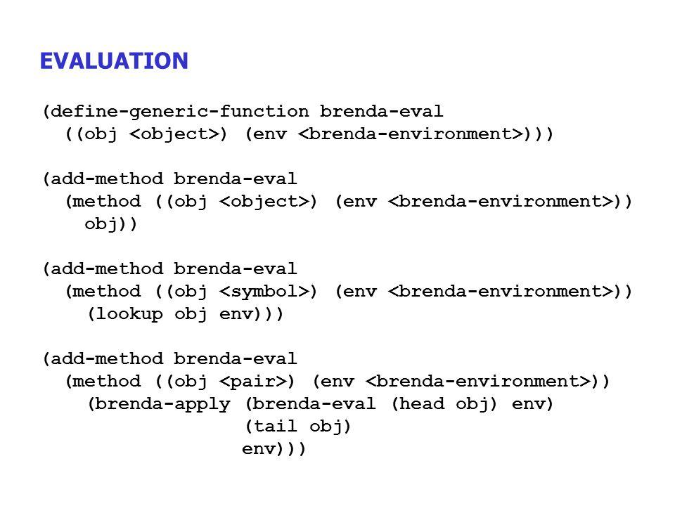 EVALUATION (define-generic-function brenda-eval ((obj ) (env ))) (add-method brenda-eval (method ((obj ) (env )) obj)) (add-method brenda-eval (method