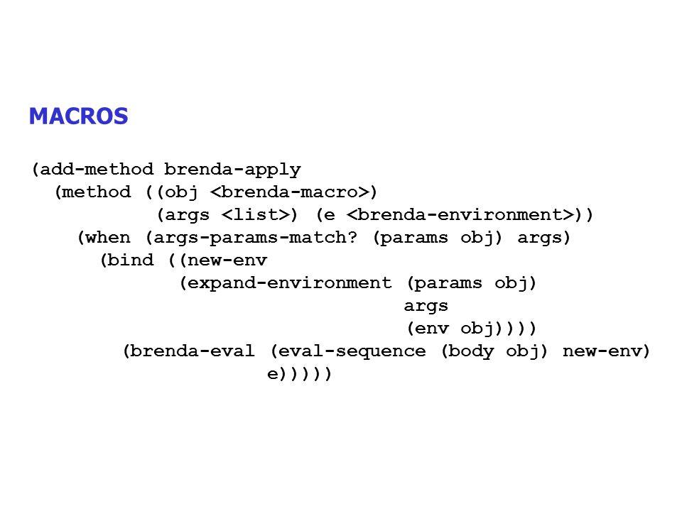 MACROS (add-method brenda-apply (method ((obj ) (args ) (e )) (when (args-params-match? (params obj) args) (bind ((new-env (expand-environment (params