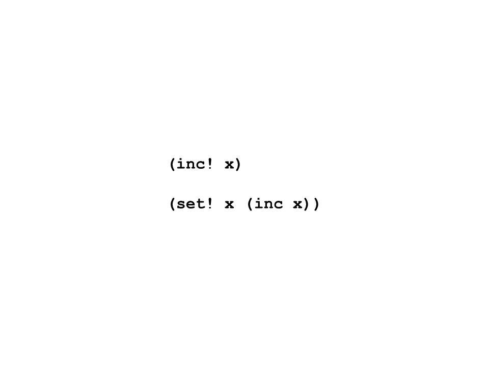 (inc! x) (set! x (inc x))