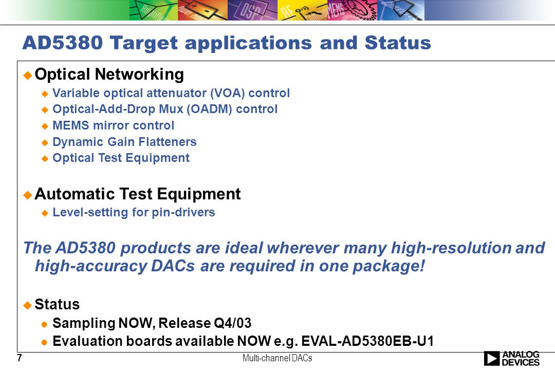 7 AD5380 Target applications and Status  Optical Networking  Variable optical attenuator (VOA) control  Optical-Add-Drop Mux (OADM) control  MEMS