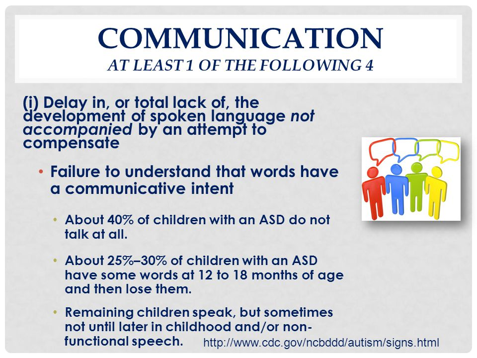 COMMUNICATION AT LEAST 1 OF THE FOLLOWING 4 (i) Delay in, or total lack of, the development of spoken language not accompanied by an attempt to compen
