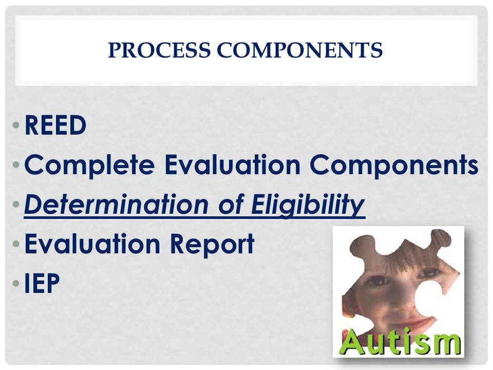 PROCESS COMPONENTS REED Complete Evaluation Components Determination of Eligibility Evaluation Report IEP