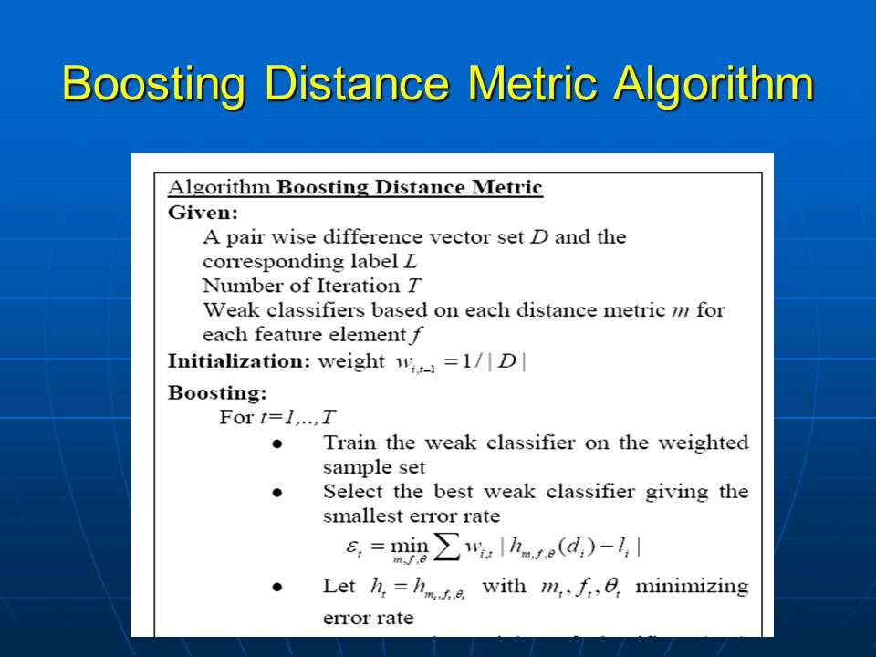 Boosting Distance Metric Algorithm