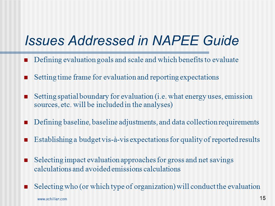 www.schiller.com 15 Issues Addressed in NAPEE Guide Defining evaluation goals and scale and which benefits to evaluate Setting time frame for evaluati